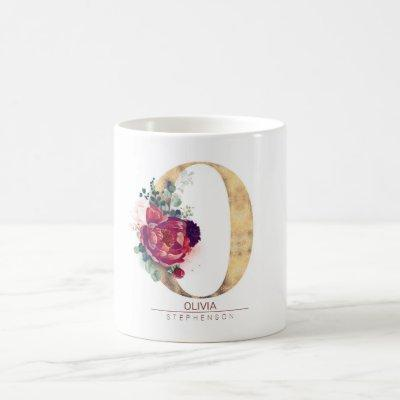 Gold Glitter O Monogram Floral Burgundy Red Coffee Mug