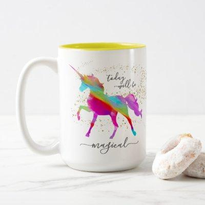 Gold Glitter Rainbow Unicorn Today will be Magical Two-Tone Coffee Mug
