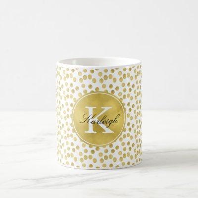 Gold Glitz Confetti Dots Monogram Coffee Mug