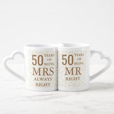 Gold Hearts Confetti 50th Wedding Anniversary Coffee Mug Set