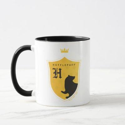 Gold HUFFLEPUFF™ Outlined Crowned Crest Mug