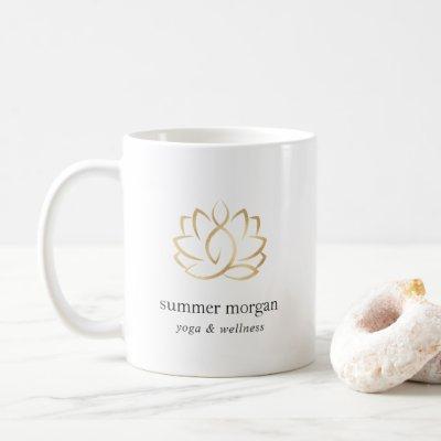 Gold Lotus Flower Logo Coffee Mug