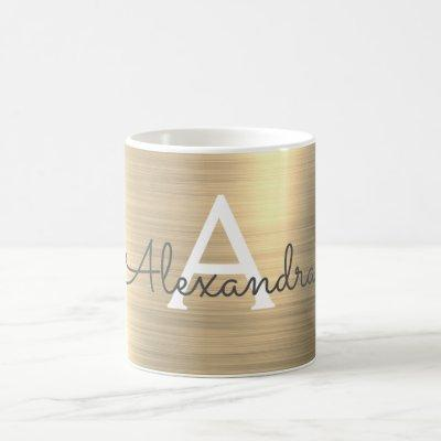 Gold Metallic Monogram Name & Initial Coffee Mug