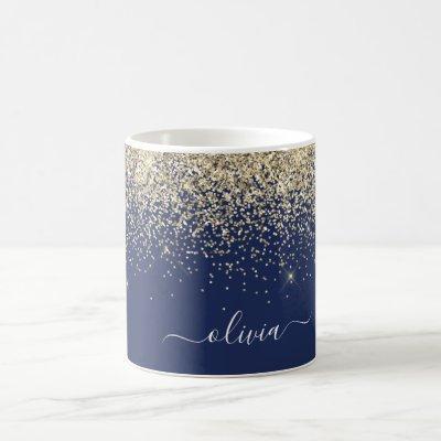 Gold Navy Blue Girly Glitter Sparkle Monogram Name Coffee Mug