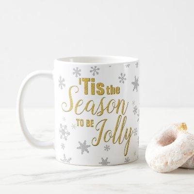 Gold Silver Christmas Typography Cute Glitter Snow Coffee Mug