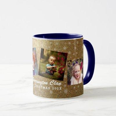Gold Snowflakes Family Photo Collage Christmas Mug