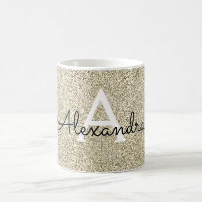 Gold Sparkle Glitter Monogram Name & Initial Coffee Mug