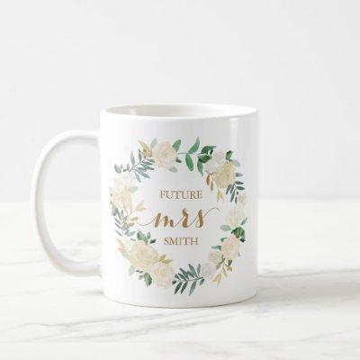 Gold White Flower Wedding Planning Mrs Coffee Mug