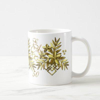 GOLDEN FLORAL ~ Monogram Mug