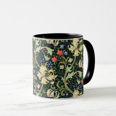 Golden Lily Vintage Floral Pattern William Morris Mug