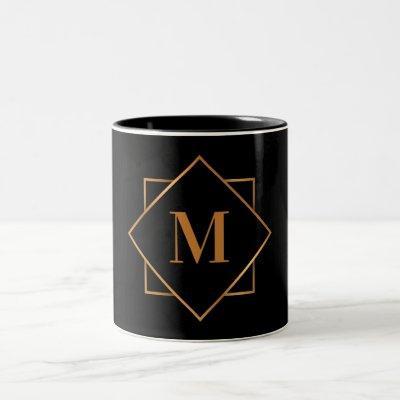Golden Monogram Two-Tone Coffee Mug