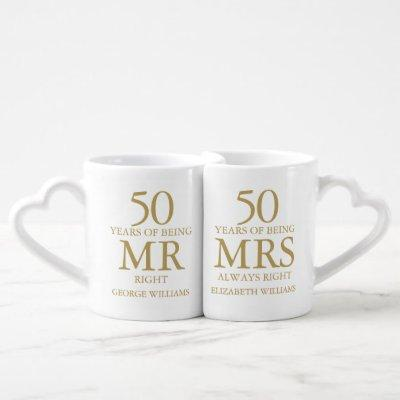 Golden Wedding 50th Anniversary Mr Mrs Right Coffee Mug Set