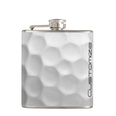 Golf Ball with Personalized Name Hip Flask