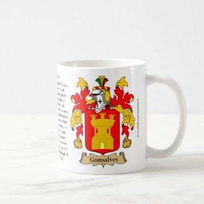 Gonsalves, the Origin, the Meaning and the Crest Coffee Mug