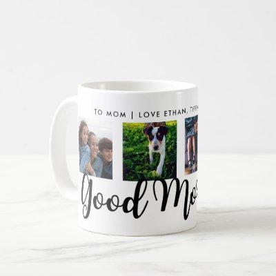 Good Morning | Modern Typography Four Photo Grid Coffee Mug