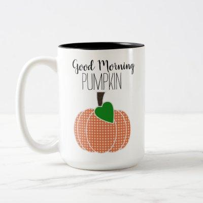 Good Morning Pumpkin Orange Gingham Plaid Two-Tone Coffee Mug