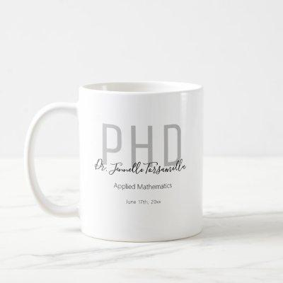 Graduate Keepsake Black Gray Name Degree PhD Coffee Mug