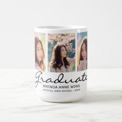 Graduate Modern 3 Photo Custom Monogram Coffee Mug