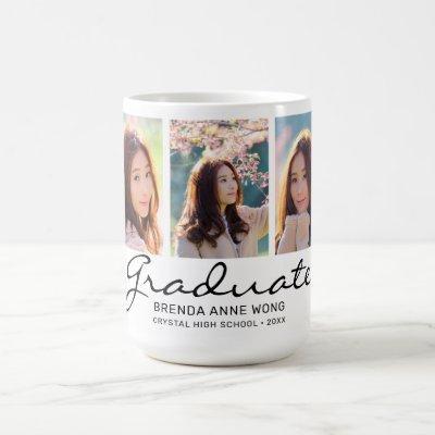 Graduate Modern 3 Photo Custom Monogram Coffee Mug