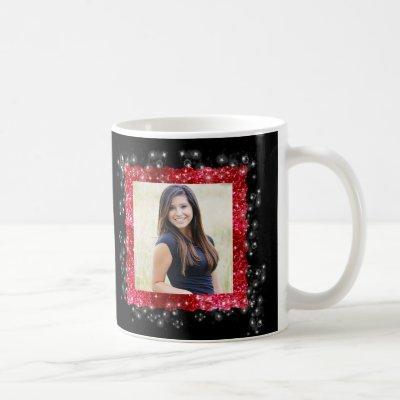 Graduation Red Glitter Sparkle Frame Photo Coffee Mug