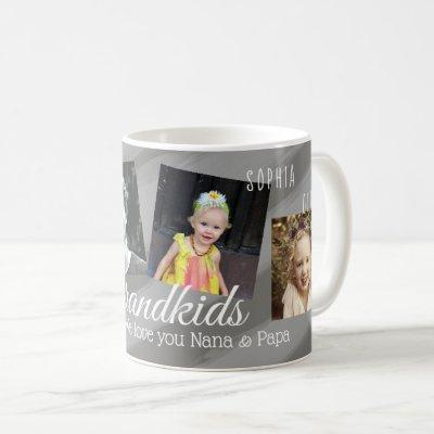 Grandkids Gray Painted Stripes Four Photo Collage Coffee Mug