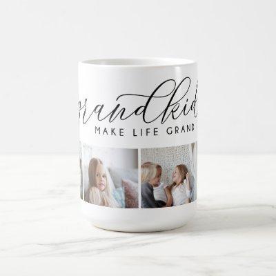 Grandkids Make Life Grand | 4 Photo Collage Coffee Mug