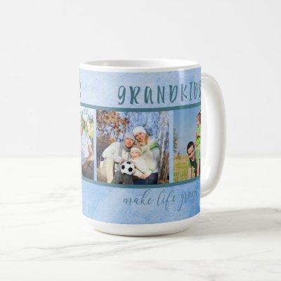 Grandkids Make Life Grand 4 Photo Grandparents Coffee Mug