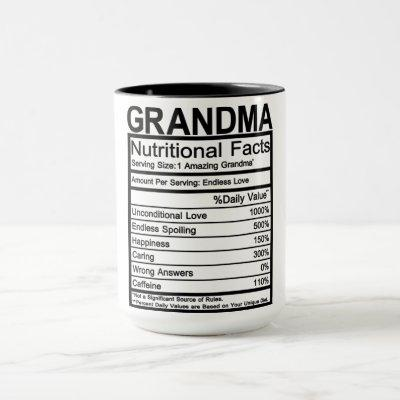 Grandma Nutritional Facts Mug