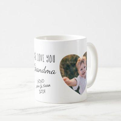 Grandma We Love You Personalized Photos Hearts Coffee Mug
