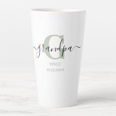 Grandpa Elegant Script Monogram Silver Green Latte Mug