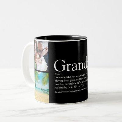 Grandpa Grandad Papa Definition 4 Photo Black Two-Tone Coffee Mug
