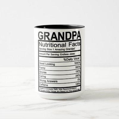 Grandpa Nutritional Facts Mug