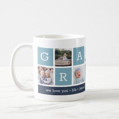 Grandpa Photo Collage & Grandchildren Names Coffee Mug