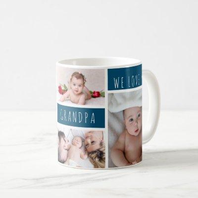 Grandpa We Love You Photo Collage Coffee Mug