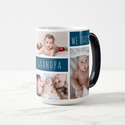 Grandpa We Love You Photo Collage Magic Mug