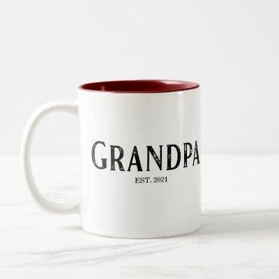 Grandpa Year Established Two-Tone Coffee Mug