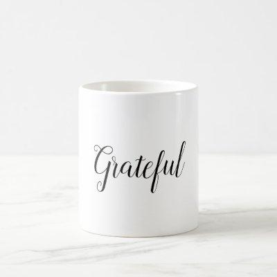 Grateful Minimal White Holiday Gift Coffee Coffee Mug