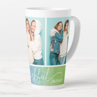 Grateful Thankful Blessed Modern Three Photo Latte Mug