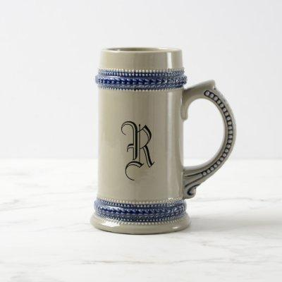 Gray & Blue Ceramic Beer Stein with Custom Initial