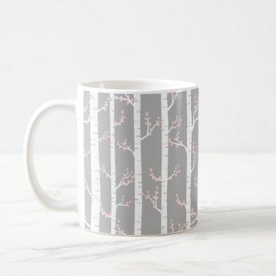 Gray, White and Pastel Pink Birch Trees Forest Coffee Mug