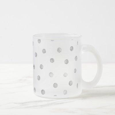 Gray White Confetti Dots Pattern Frosted Glass Coffee Mug