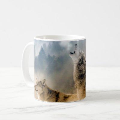 Gray Wolves Moon Howl Coffee Mug