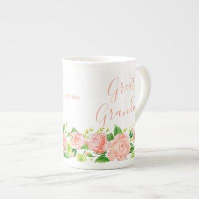 Great Grandma Coral Pink Watercolor Floral Bone China Mug