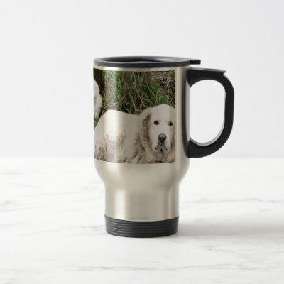 Great Pyrenees Dog and puppy Travel Mug