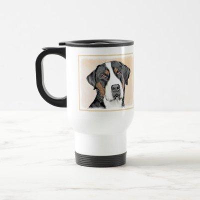 Greater Swiss Mountain Dog Painting - Original Art Travel Mug