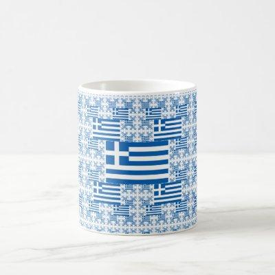 Greece Flag in Multiple Colorful Layers Coffee Mug