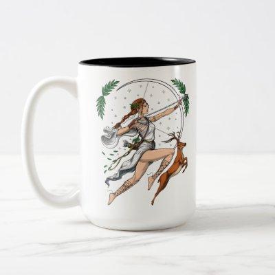 Greek Goddess Artemis Two-Tone Coffee Mug