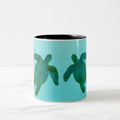 Green Blue Watercolor Ocean Sea Turtles Two-Tone Coffee Mug