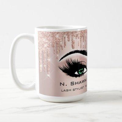 Green Eyes Rose Sparkly Glitter Drips Make Lashes Coffee Mug