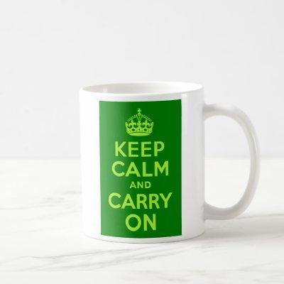 Green Keep Calm and Carry On Coffee Mug